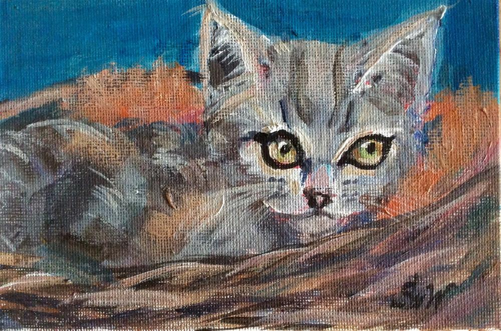 """Kitten painting"" original fine art by Sonia von Walter"
