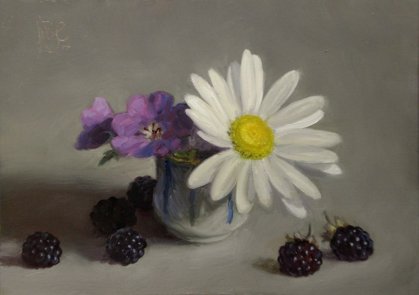 """Daisy and Blackberries"" original fine art by Debra Becks Cooper"