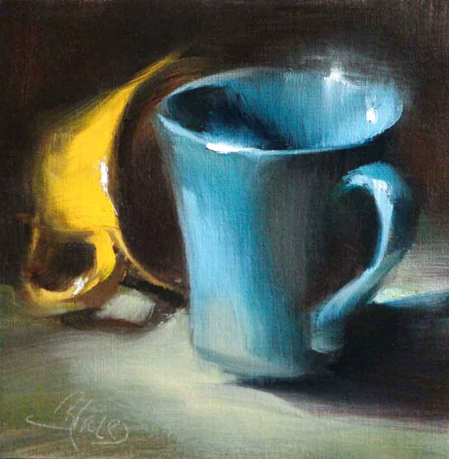"""Complementary Coffee Cups"" original fine art by Pamela Blaies"