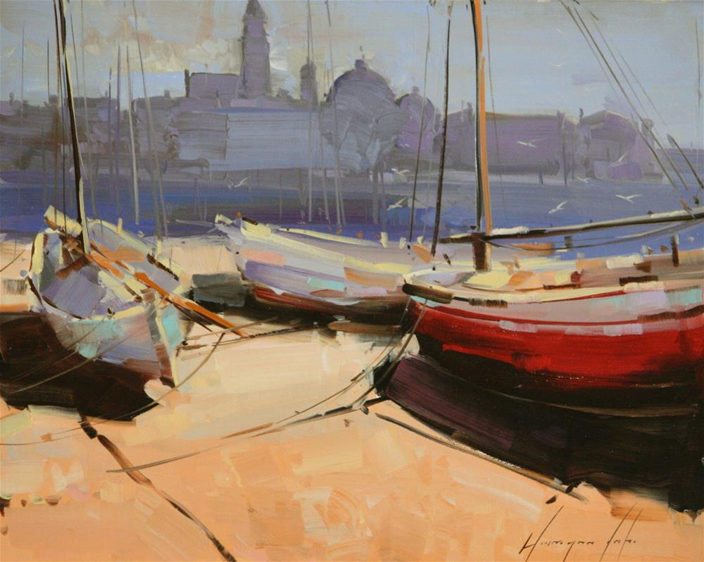 """Boats on the Shore"" original fine art by V Y"
