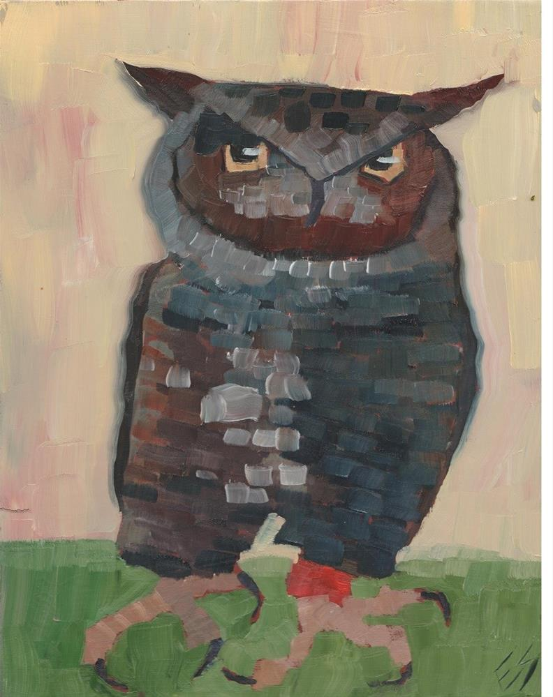 """Great Horned Owl"" original fine art by Elizabeth See"