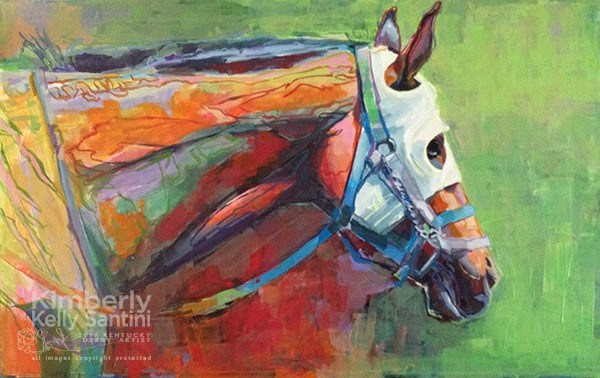 """White Blinkers, FInished"" original fine art by Kimberly Santini"