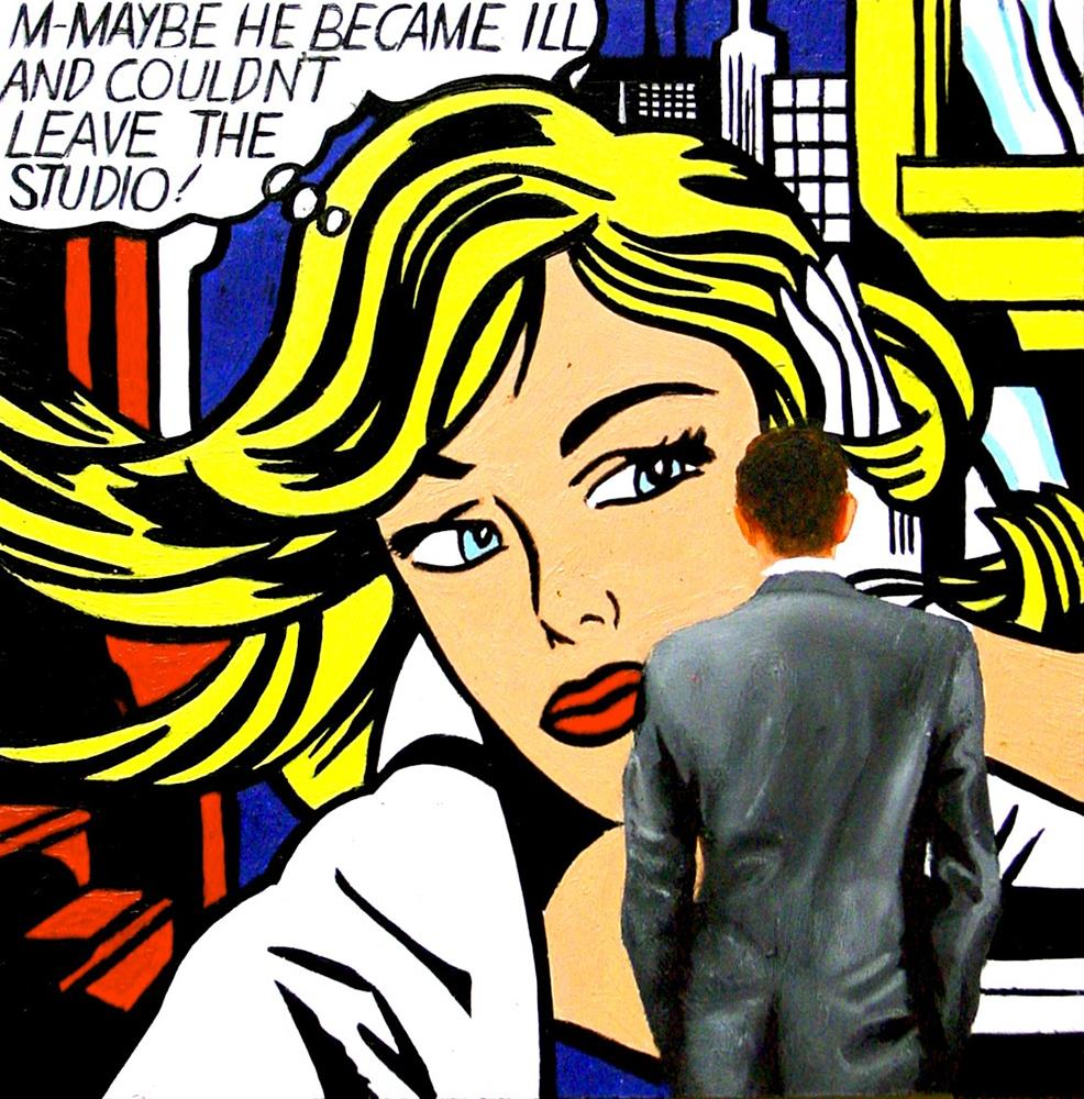 """The Studio- Painting Of Man Enjoying Painting M-Maybe By Roy Lichtenstein"" original fine art by Gerard Boersma"