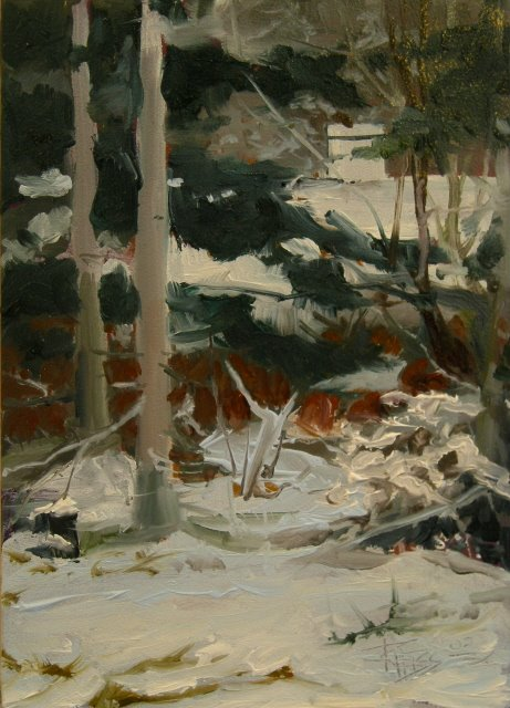 """Pines in Snow   landscape oil painting"" original fine art by Robin Weiss"