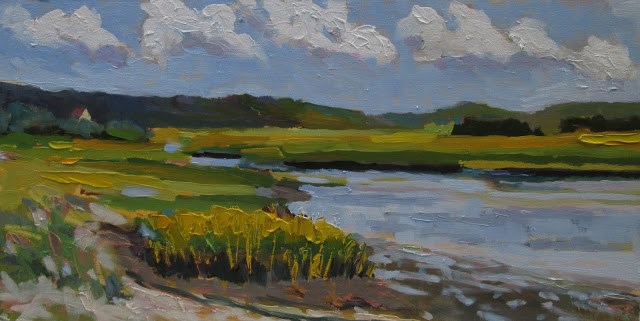 """South River Summer- had a great day painting on the river. FRAMED can send photo of framed piece"" original fine art by Mary Sheehan Winn"