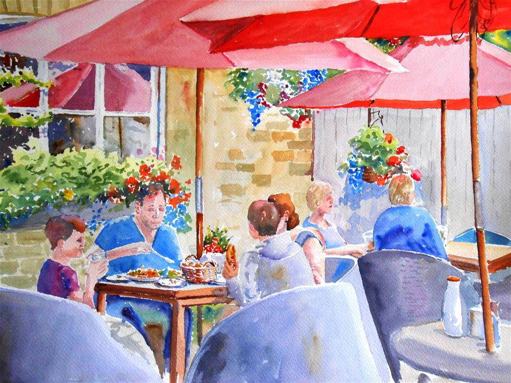 """Lunch at the Rose Tree"" original fine art by Graham Findlay"