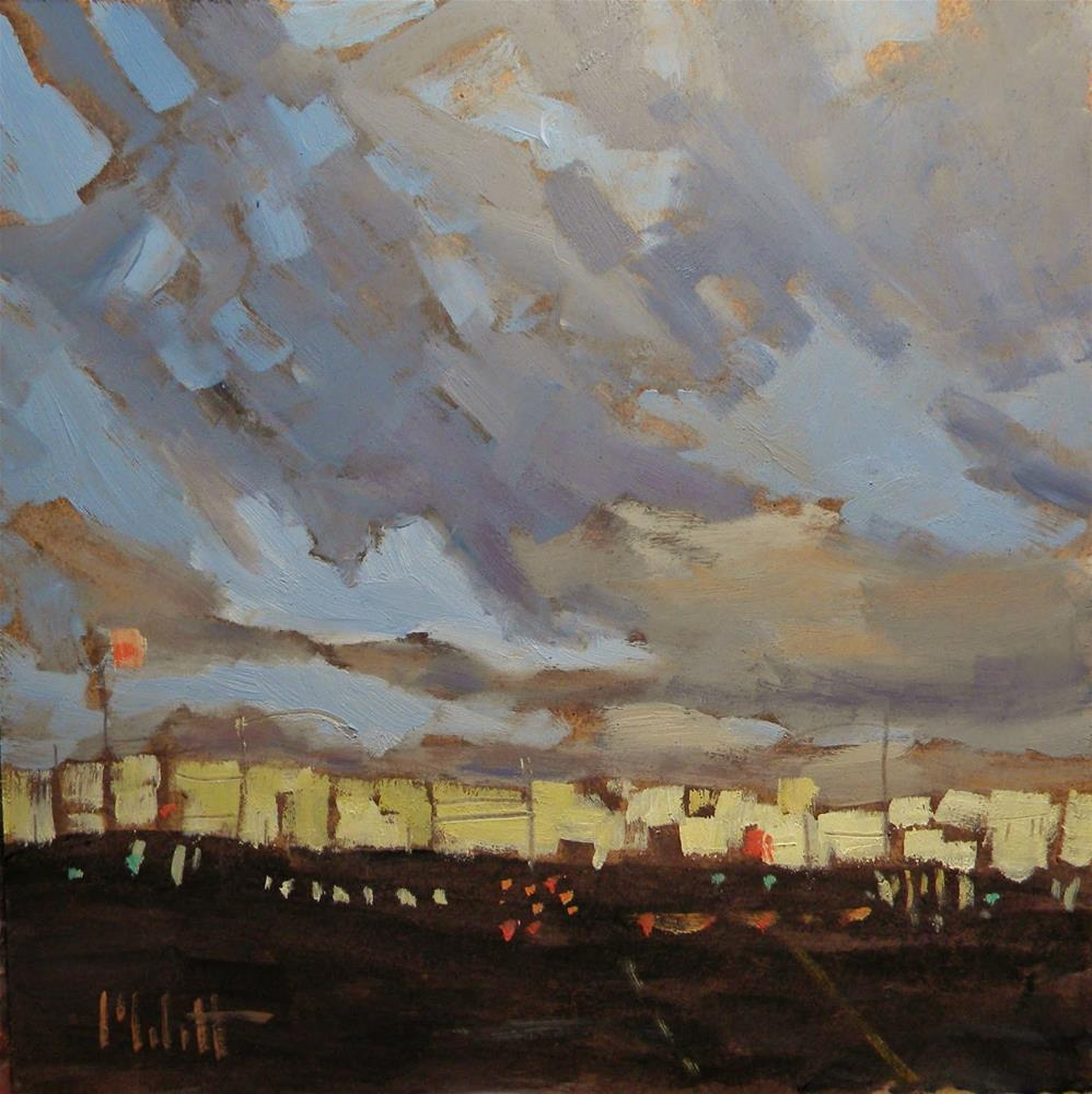 """Corner of Sunset and Friday Night Contemporary Oil"" original fine art by Heidi Malott"