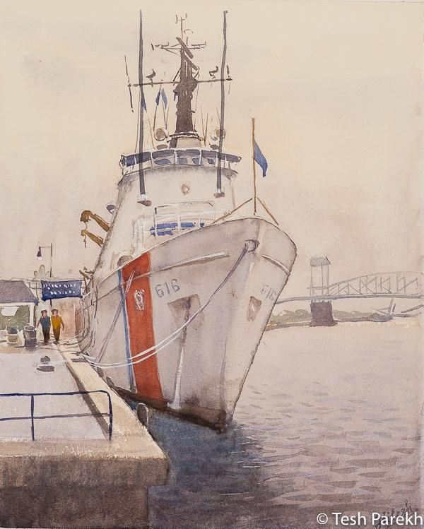 """USCGC Diligence"" original fine art by Tesh Parekh"