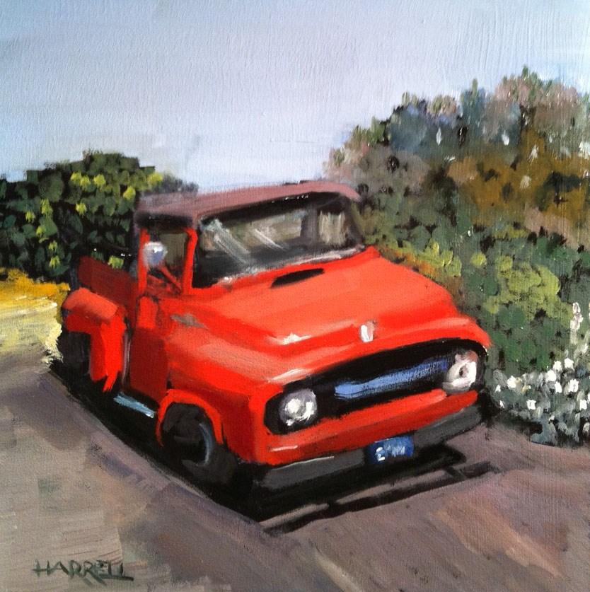 """Little Red Truck"" original fine art by Sue Harrell"