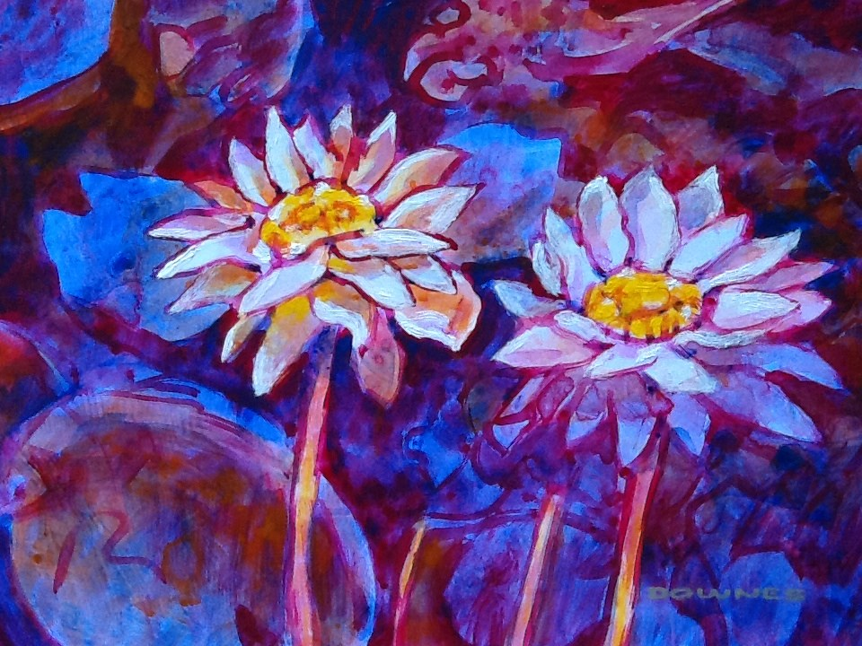 """029 WATERLILLY 2"" original fine art by Trevor Downes"