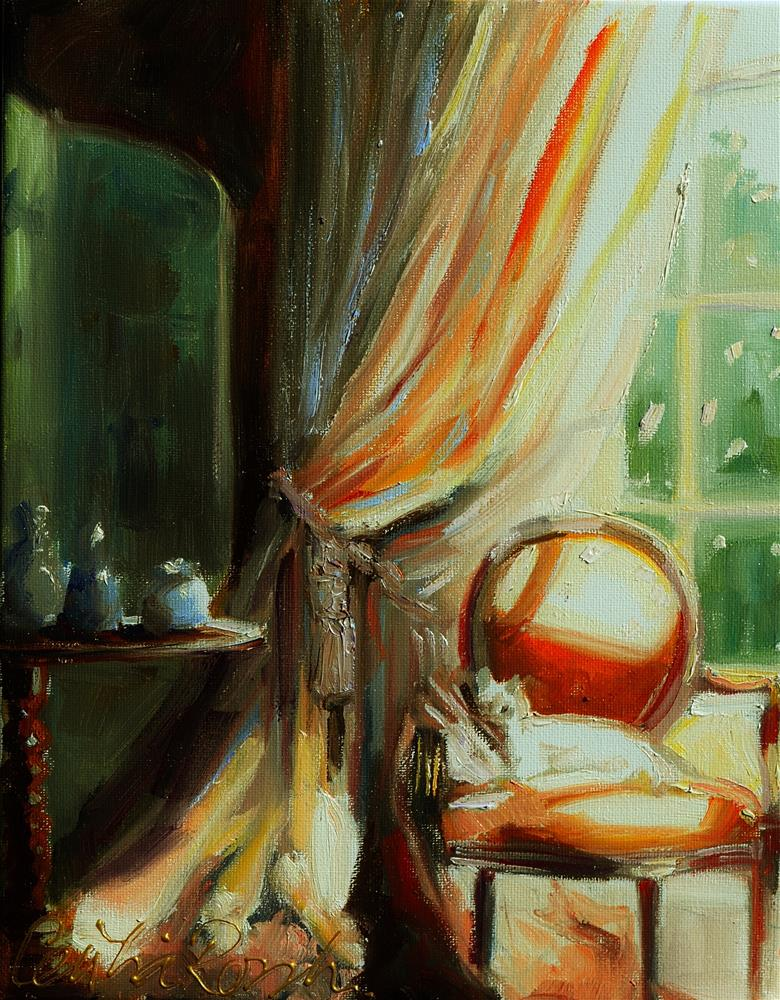 """AT THE WINDOW"" original fine art by Cecilia Rosslee"