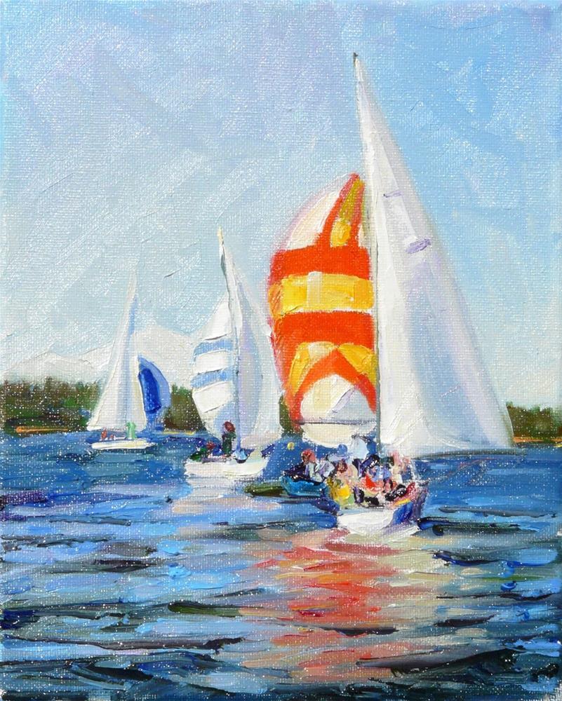 """NorthWest Sailboat Race,seascape,oil on canvas,10x8,price$375"" original fine art by Joy Olney"