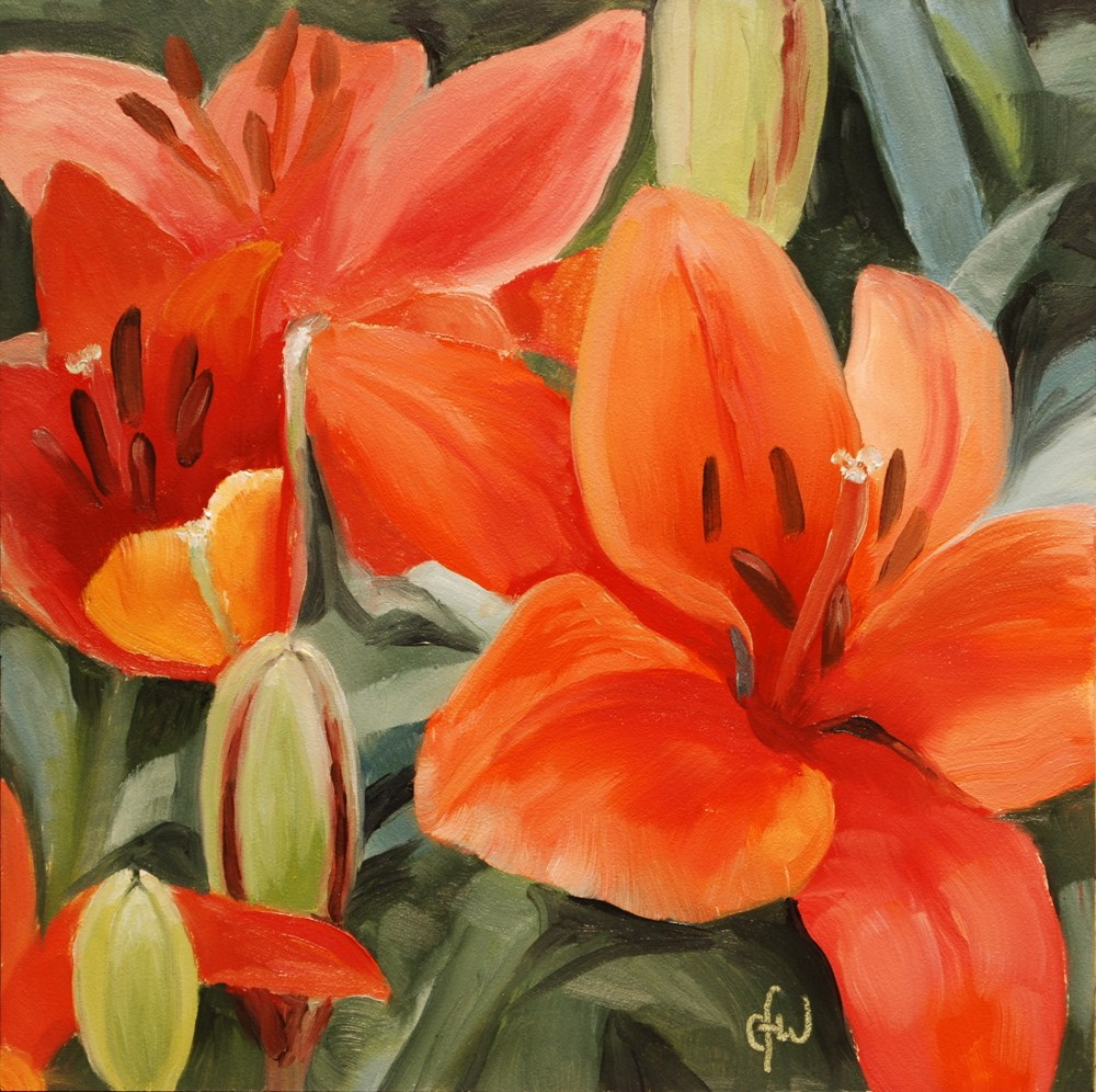 """Red Lilies"" original fine art by Gary Westlake"