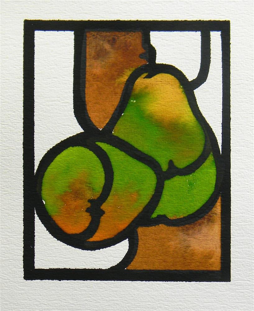 """Stained Glass Pears"" original fine art by De Selby"