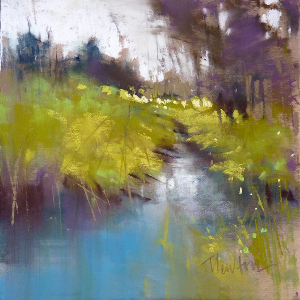 """Spring Creek, pastel, 6x6 inches"" original fine art by Barbara Benedetti Newton"