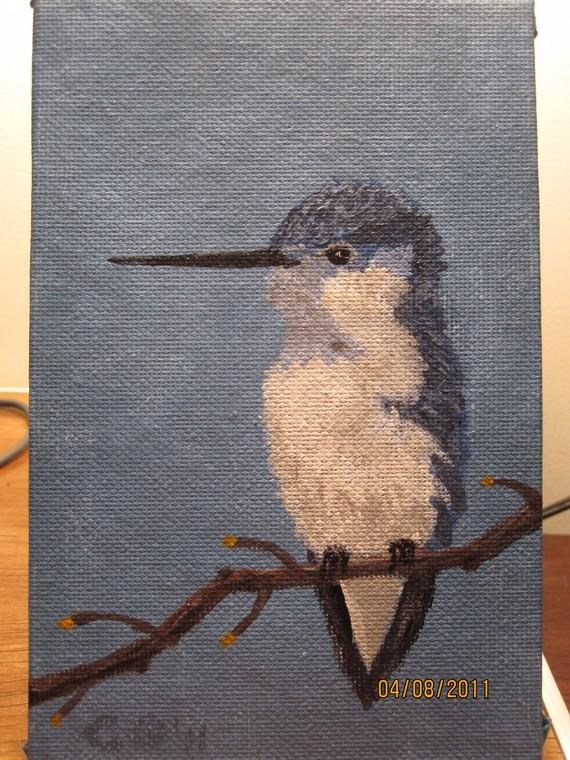 """Baby Hummingbird Blue"" original fine art by christina glaser"