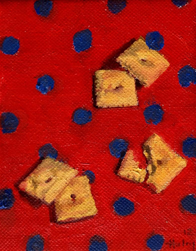 """White Cheddar on Blue Dots"" original fine art by Ski Holm"