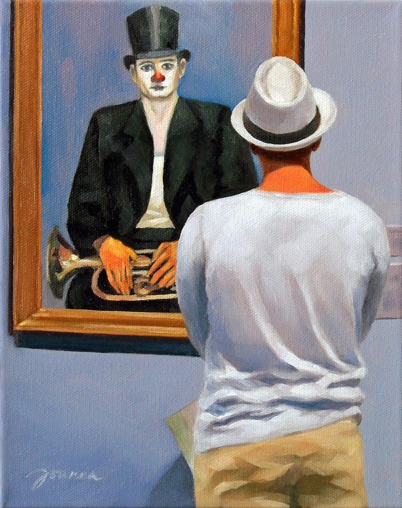 """Man With Hat--Painting People in Museum/Gallery Series"" original fine art by Joanna Bingham"