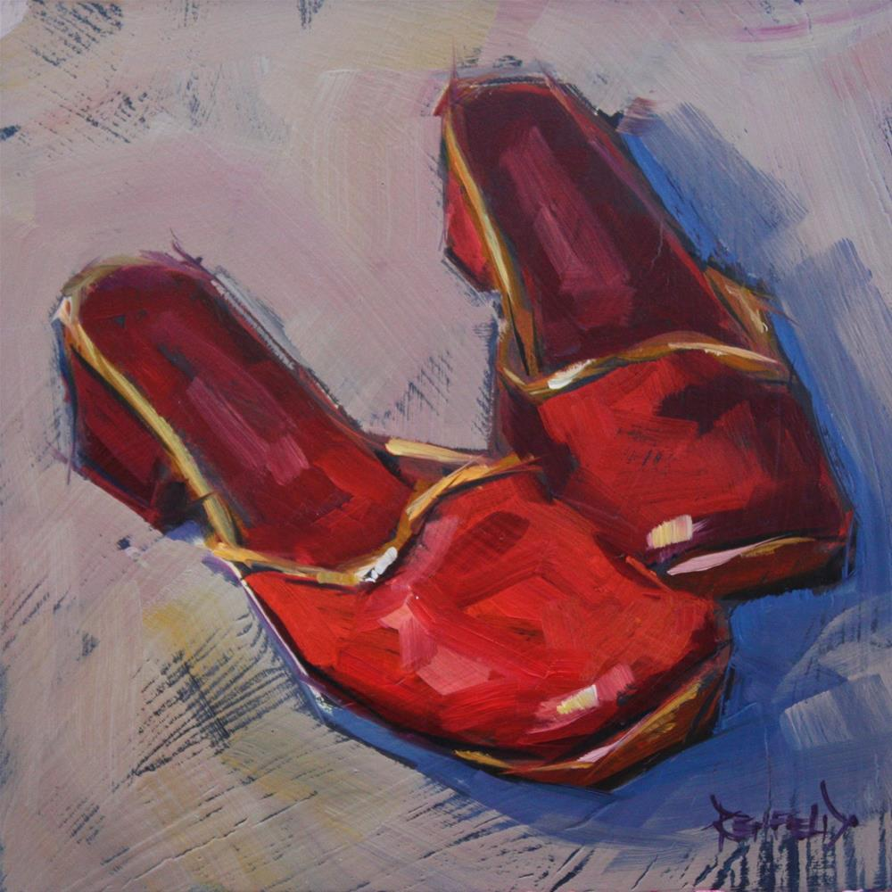 """Shoe Fiend! #2 Red Shoes"" original fine art by Cathleen Rehfeld"