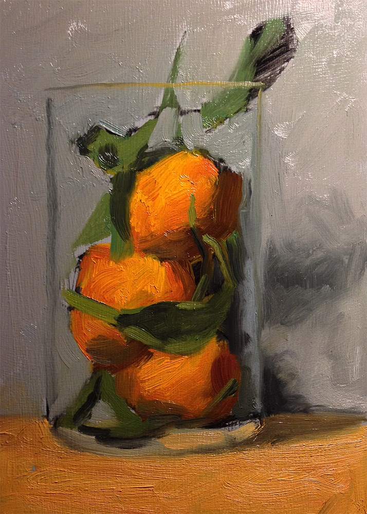 """Stacked Satsumas in French Press 2"" original fine art by Chris Beaven"
