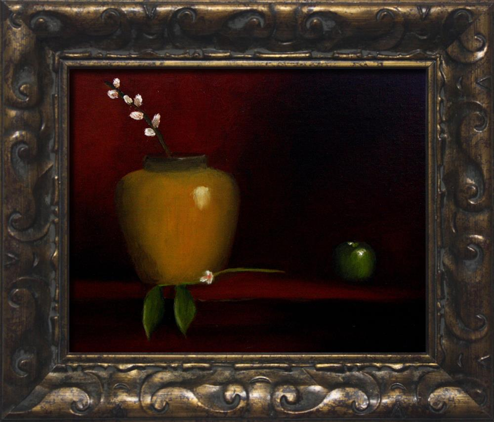 """Apple, Jug and Pussy Willow"" original fine art by Dave Casey"