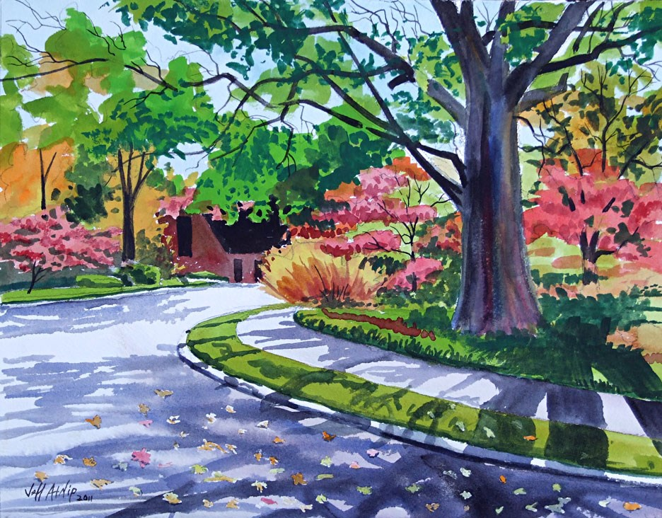 """Autumn Neighborhood"" original fine art by Jeff Atnip"