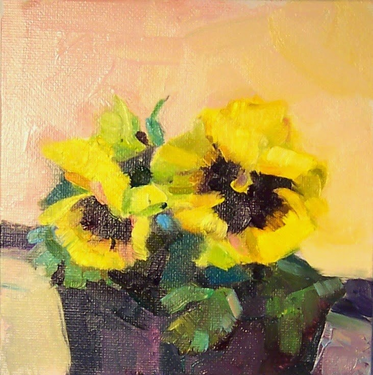 """Bright Yellow Pansies,still life, oil on canvas,6x6,price$200"" original fine art by Joy Olney"