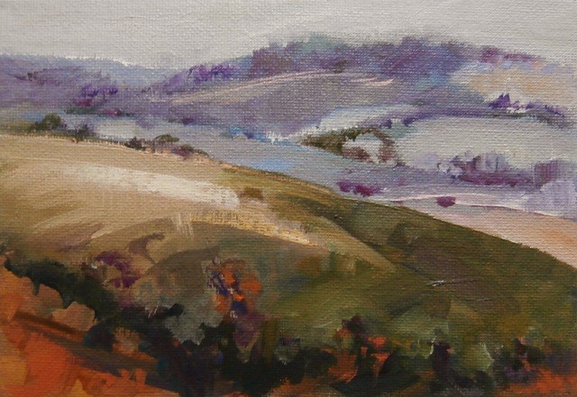 """Rolling Wolds"" original fine art by Anne Wood"
