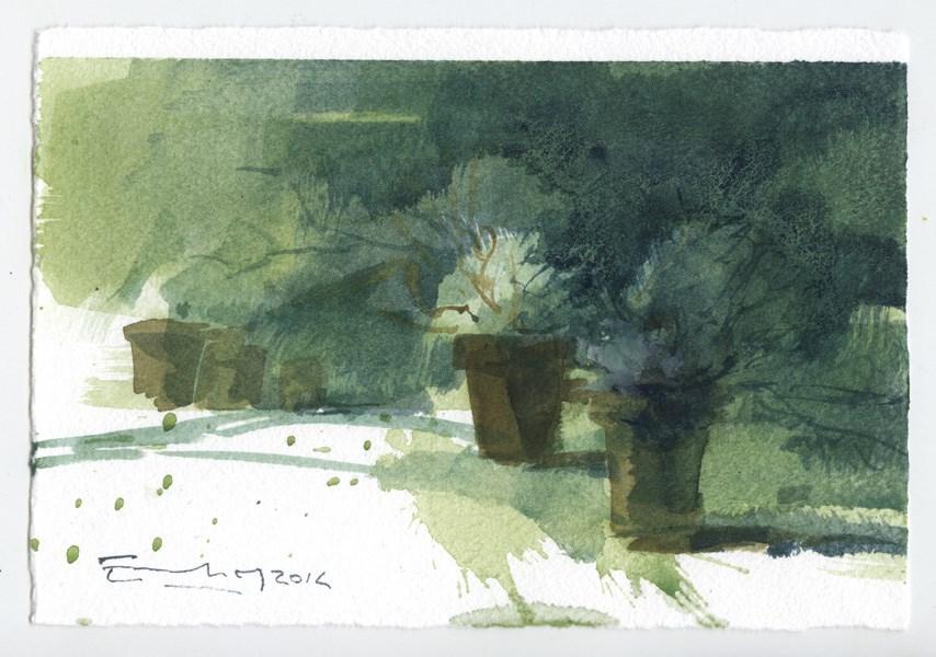 """""""Garden 14"""" original fine art by Emilio López"""