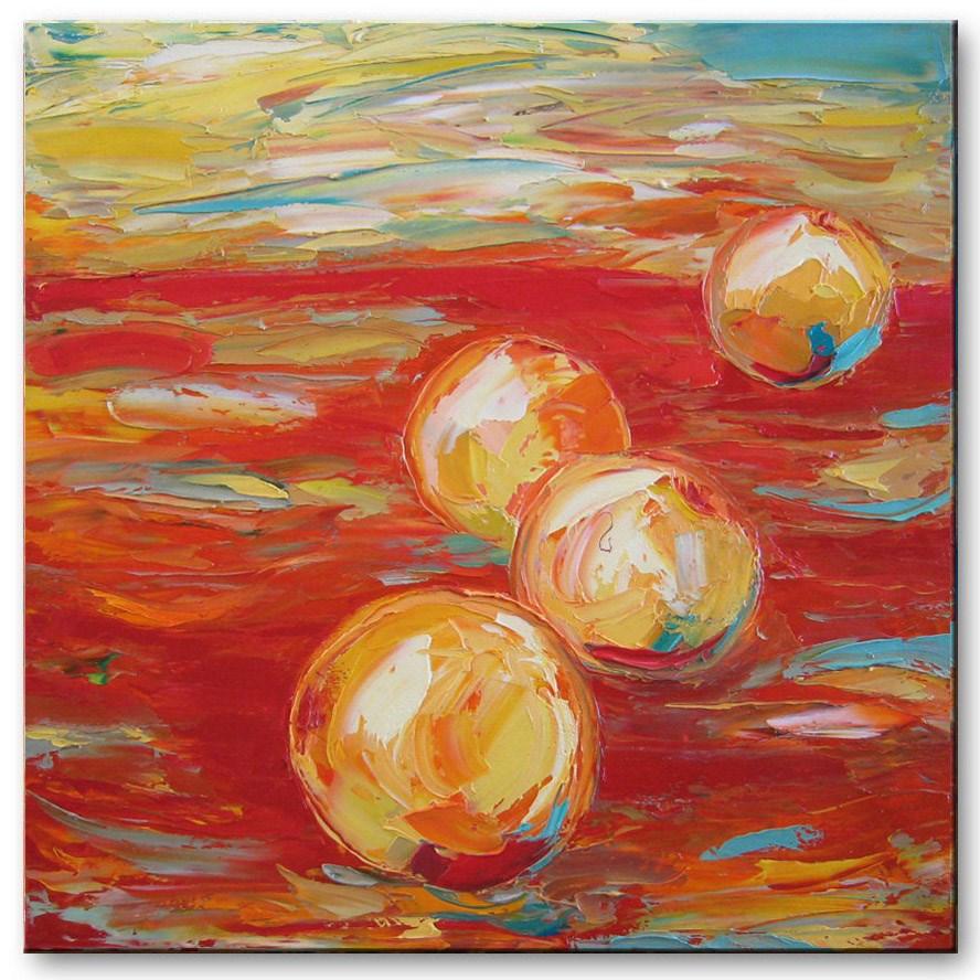 """Oranges on red"" original fine art by Elena Lunetskaya"
