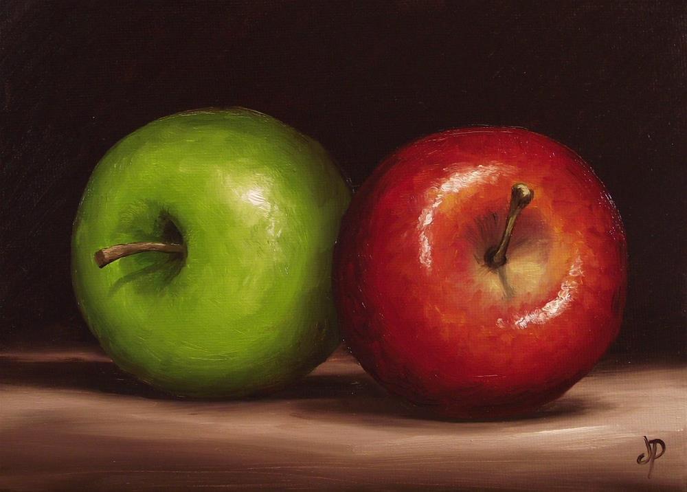 """Granny Smith and Braeburn Apples"" original fine art by Jane Palmer"