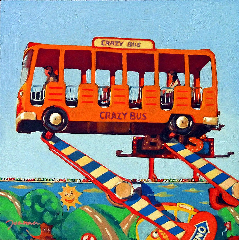 """Crazy Bus -- Painting of Fun Fair Rides"" original fine art by Joanna Bingham"