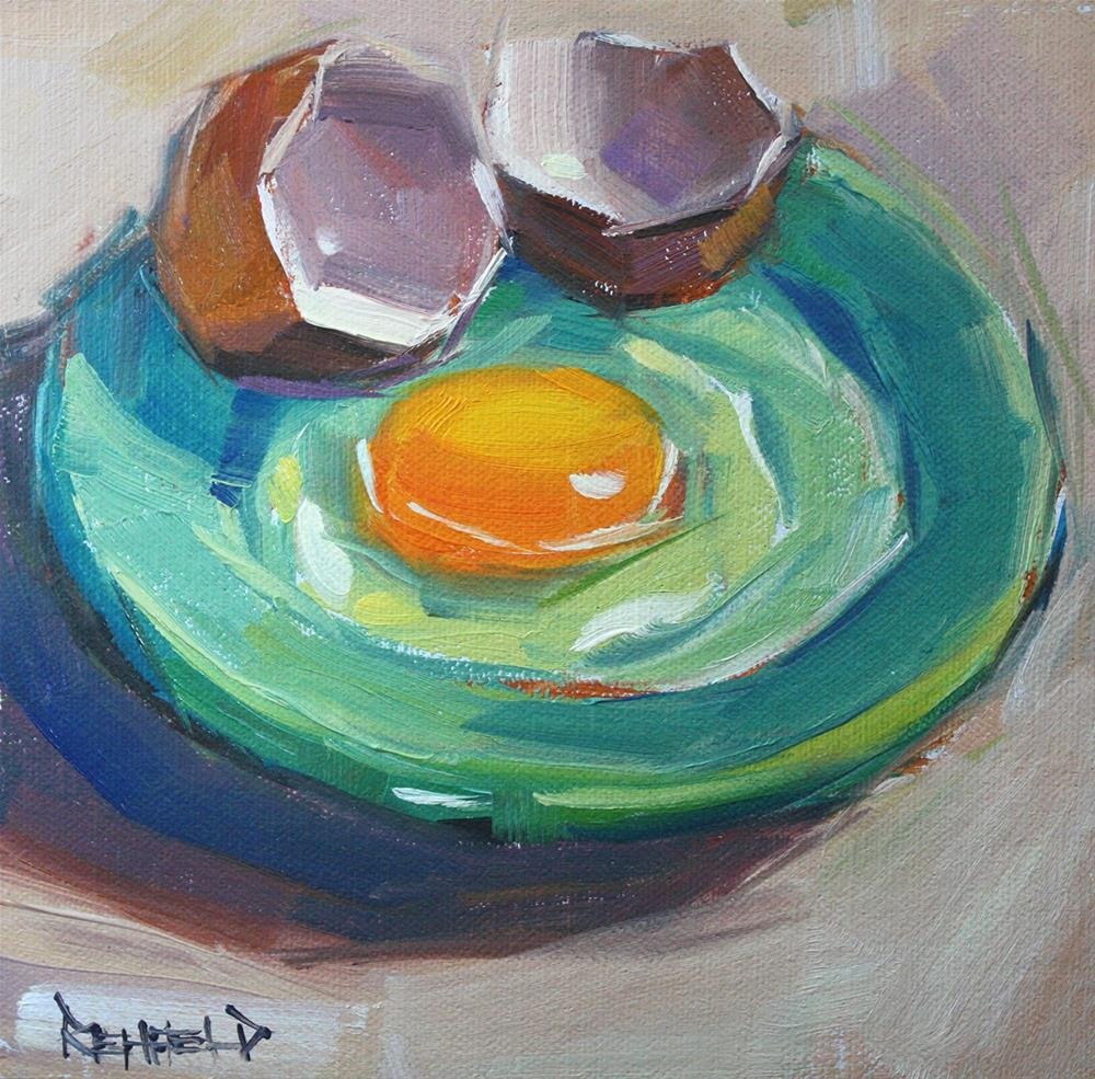 """Yolk Yellow and Turquoise"" original fine art by Cathleen Rehfeld"