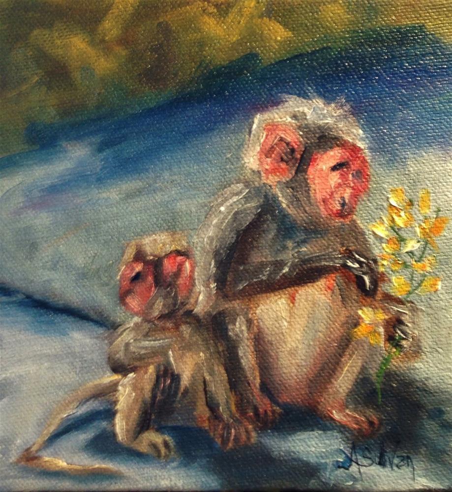"""Monkey Business animal painting by Alabama Artist Angela Sullivan"" original fine art by Angela Sullivan"