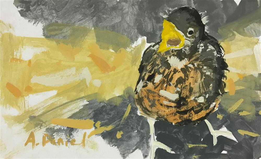 """""""Hungry Chick"""" original fine art by Andrew Daniel"""