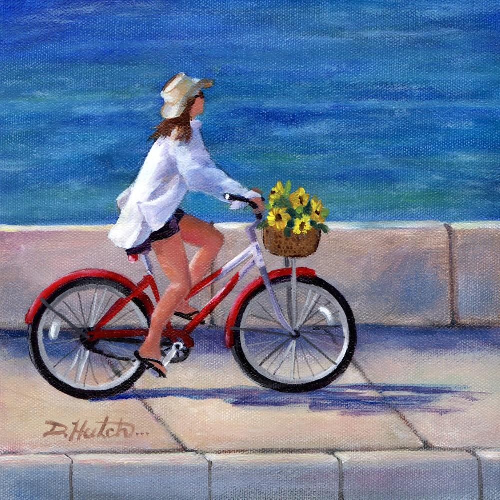"""Girl on Bike"" original fine art by Diane Hutchinson"