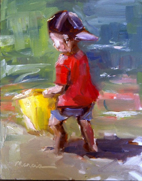 """The Yellow Bucket"" original fine art by Marcia Hodges"