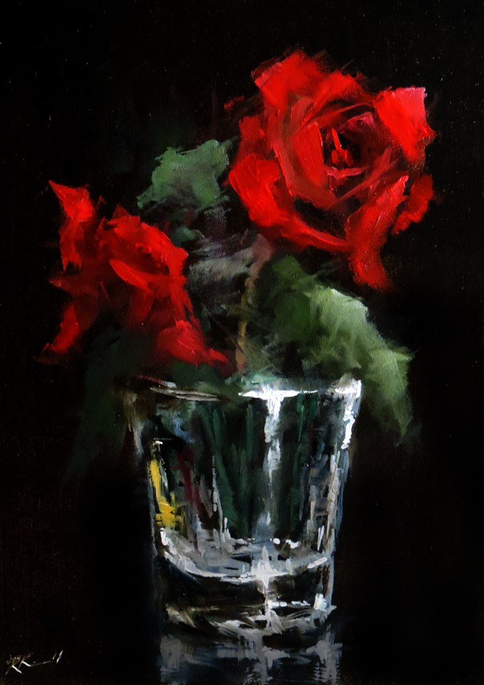 """Two Roses in a Glass"" original fine art by Bob Kimball"