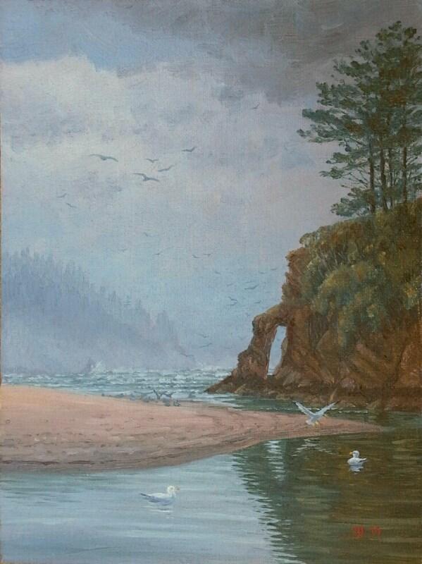 """Gulls Rising over Neskowin (Oregon Coast)"" original fine art by Steven Thor Johanneson"