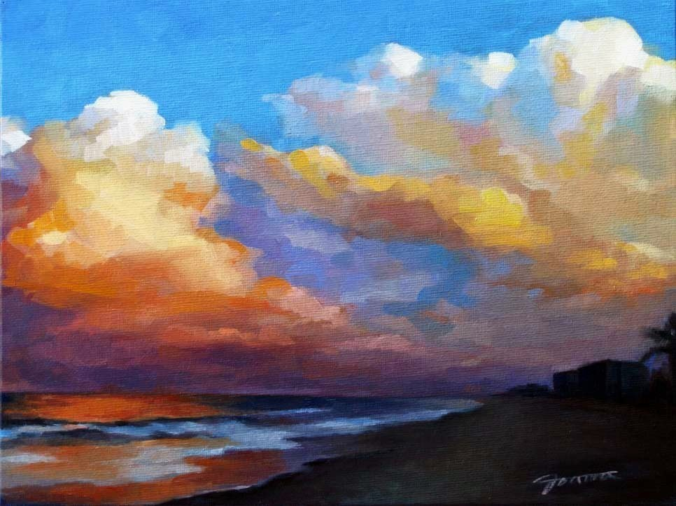 """Dusk After Storm-The Sky Challenge"" original fine art by Joanna Bingham"