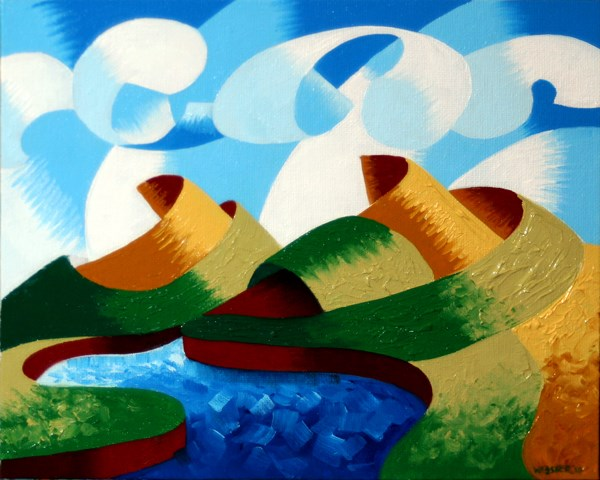 """Mark Webster - Rough Futurist Geometric Abstract Landscape Oil Painting"" original fine art by Mark Webster"