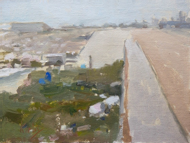 """Seawall at Galveston"" original fine art by Randall Cogburn"