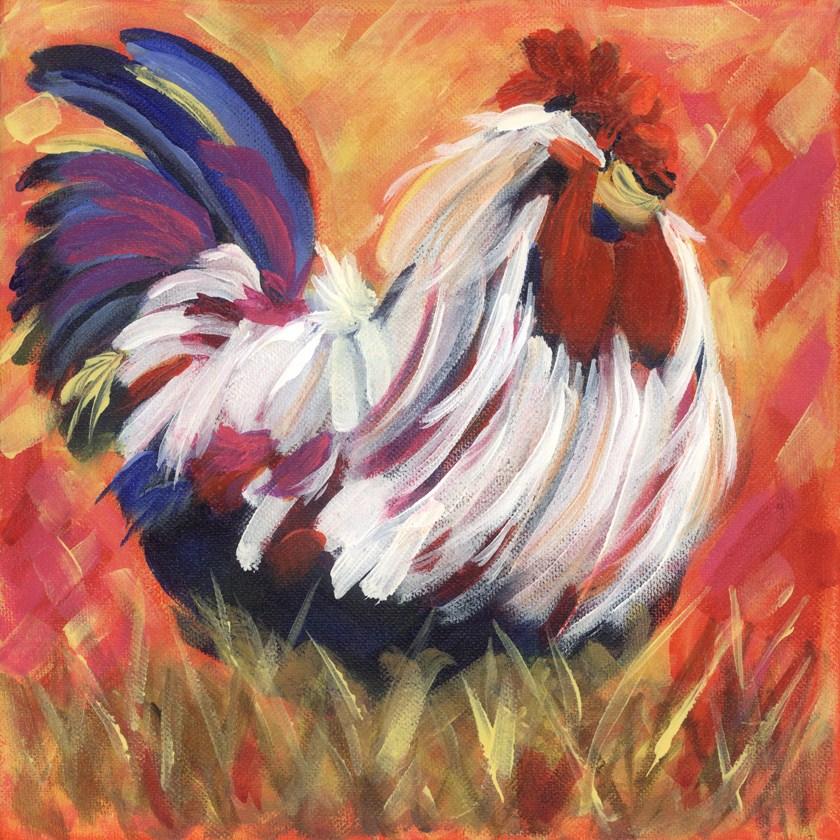 """""""Ruffian Rooster"""" original fine art by Pamela Gatens"""