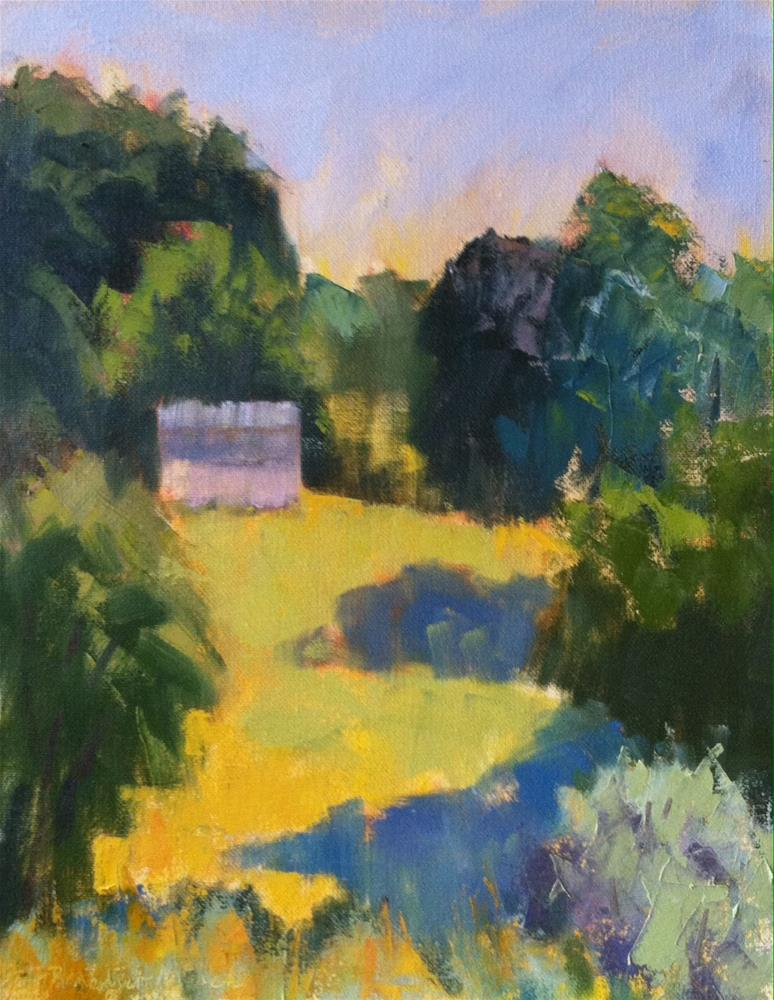 """White Shed Across Yellow Fields"" original fine art by Katharine March"
