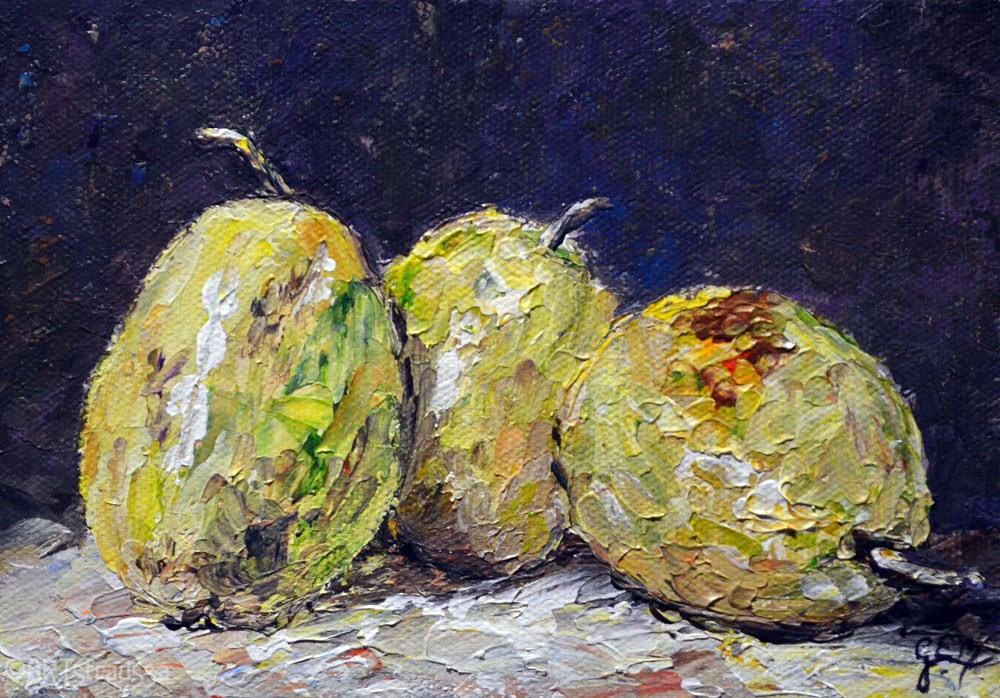 """Pear Trio (Charity)"" original fine art by Gloria Ester"