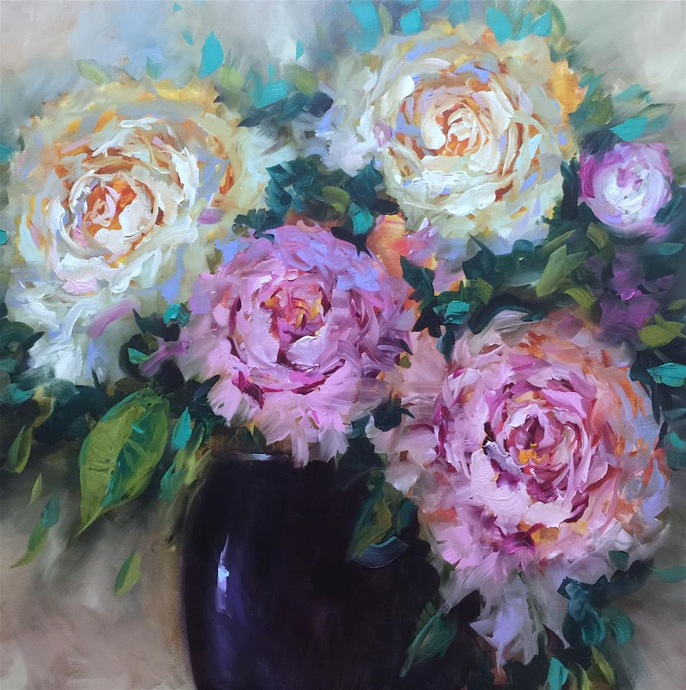 """Working With Wax and Oil - Color Flight Peonies"" original fine art by Nancy Medina"