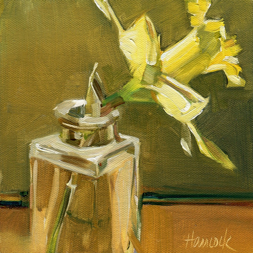 """Single Daffodil on Gold and Green"" original fine art by Gretchen Hancock"