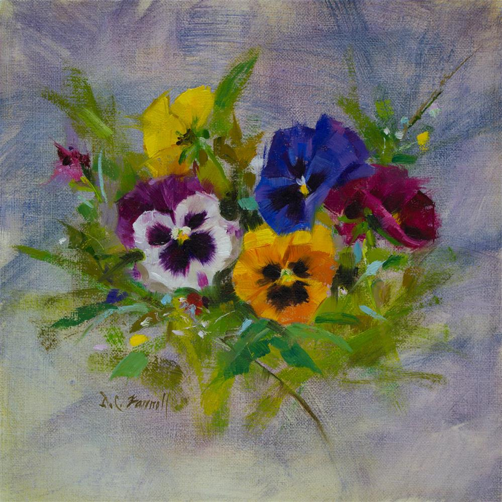 """Pansies Study"" original fine art by Donna C Farrell"