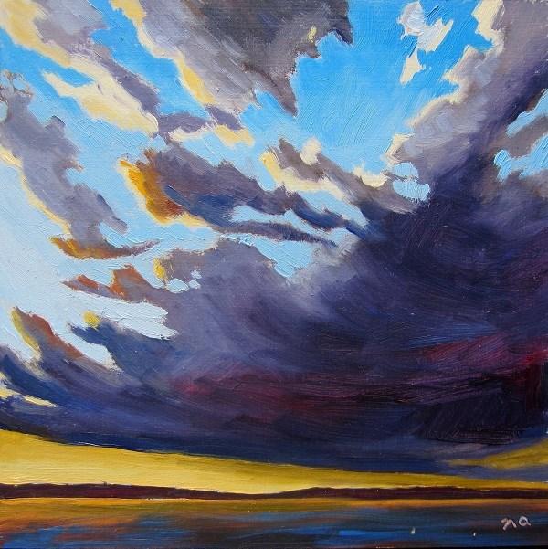 """""""Dark Clouds at Sunset"""" original fine art by Nicki Ault"""