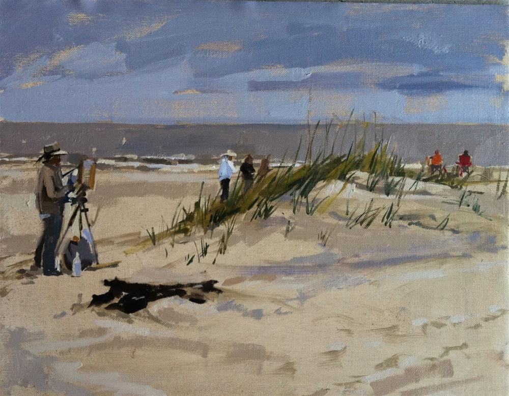 """Artists painting on the beach"" original fine art by Haidee-Jo Summers ROI"